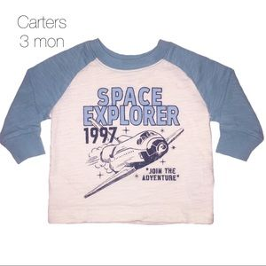 Carters Spaceship Rocket Raglan Long Sleeve 3 mon